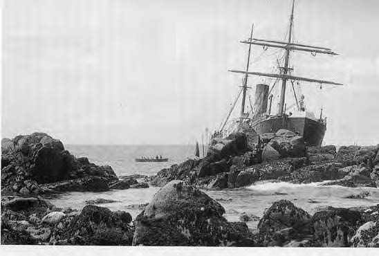 Scillonian ship wreck with pilot gig