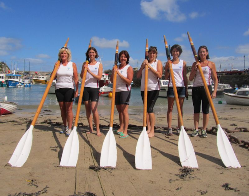 Tamar & Tavy Gig Club Ladies A team, Nicky Evans, Sarah Gall, Lyn Renton, Katie Turner, Meg Keegan and Sandra Anstey at the Newquay County Championships