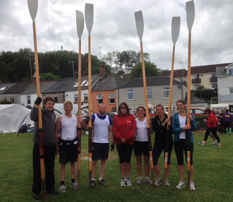 Mixed team at Saltash Regatta 2013: Dan High, Mark Turner, Tim Brodribb, Katie Turner (cox), Heidi Brodribb, Charity Philips and Sarah Gall